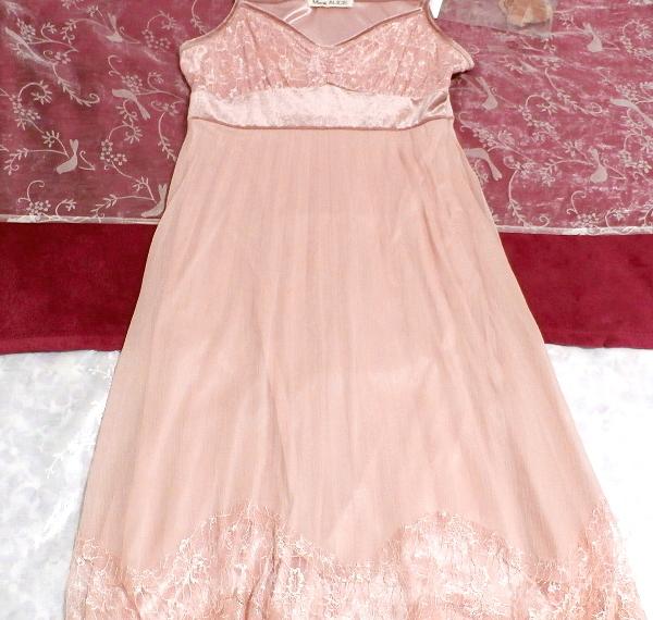 ピンクシフォンレースキャミソールワンピース/ネグリジェ Pink chiffon lace camisole onepiece/negligee_画像2