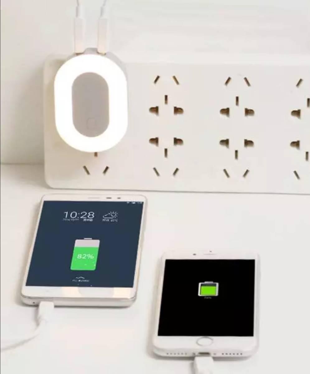 プラグたためてコンパクトに持ち運び USBチャージャーナイトライト 明るさ切替可 新品_画像2