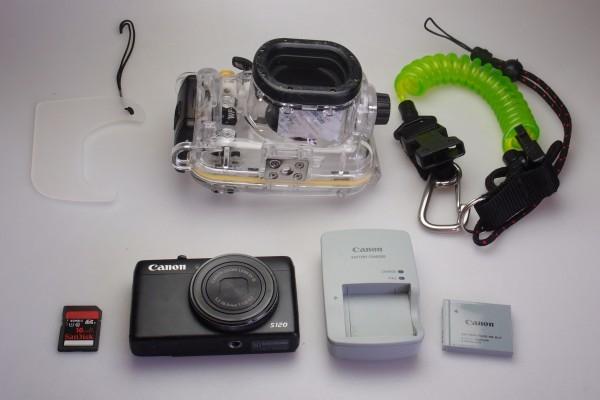 Canon PowerShot S120 ブラック 水中撮影用ハウジングケース付き F値1.8 広角24mm 光学5倍 コンデジ 防水仕様 ダイビングに 送料無料