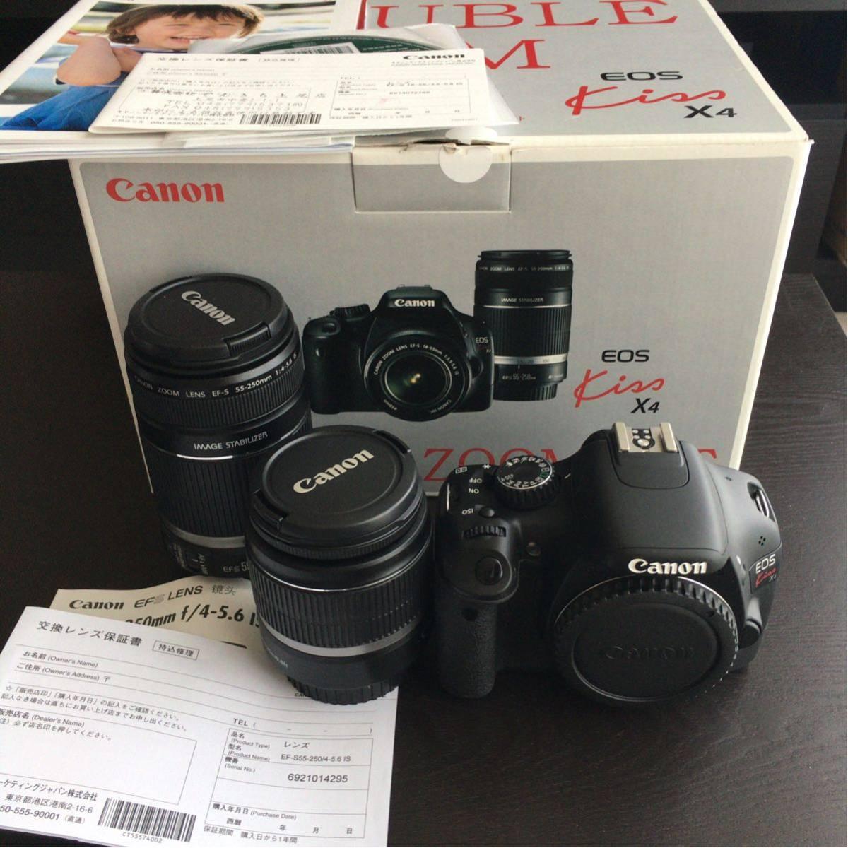 【実用美品】Canon キヤノン EOS KISS X4 ダブルズームキット EF-S 18-55mm F3.5-5.6 IS EF-S 55-250mm F4-5.6IS デジタル 1800万画素