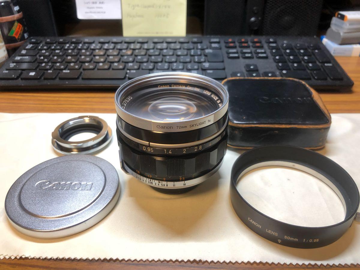 キヤノン 50mm F0.95美品 純正レンズフィルター、レンズフード、マイクロ4/3用アダプターセット レンジファインダー Lマウント