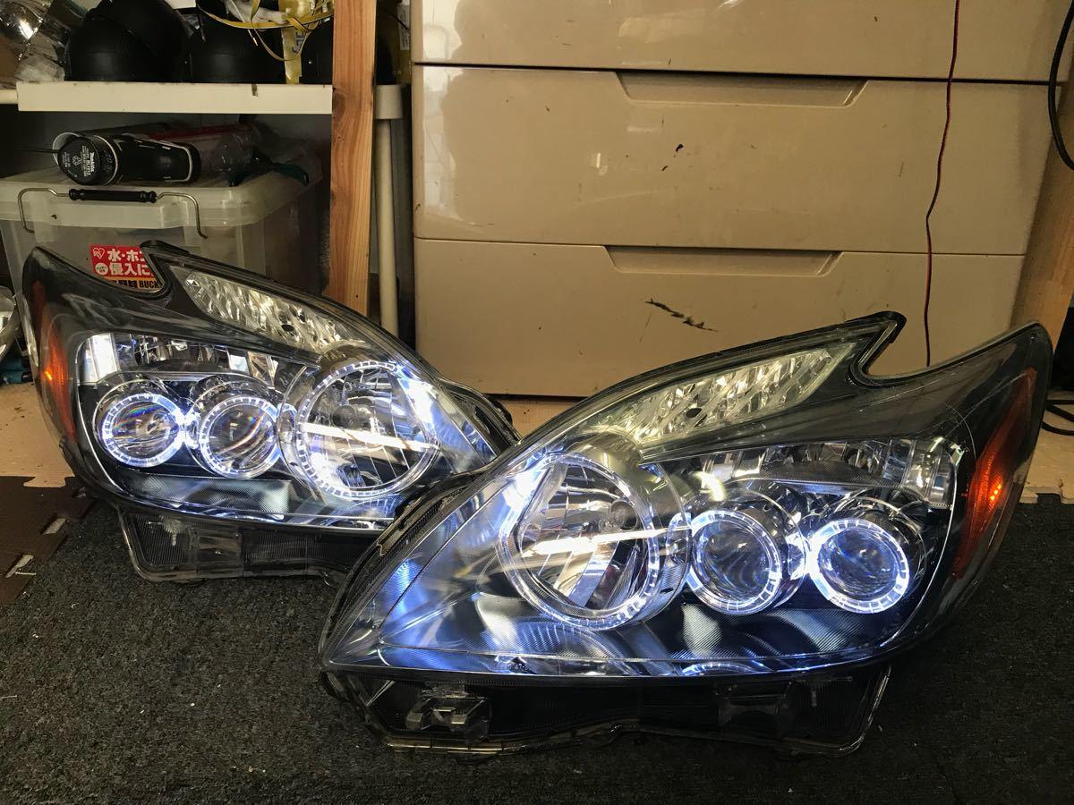 30プリウス前期LEDヘッドライトアクリルLEDイカリングホワイトサイドレンズオレンジ_画像1