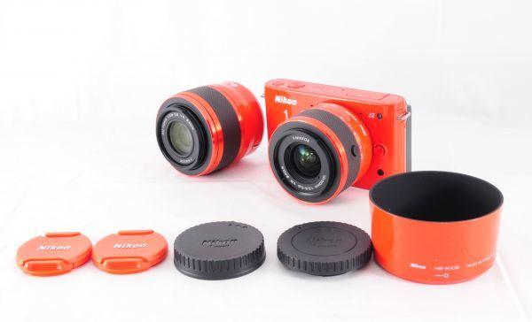 新同品■ニコン【 Nikon 1 J2 】可愛いオレンジ■ダブルズームキット■最高コンディション■付属品完備 カメラ・レンズ 保証書付 #162_未記入保証書(3枚)