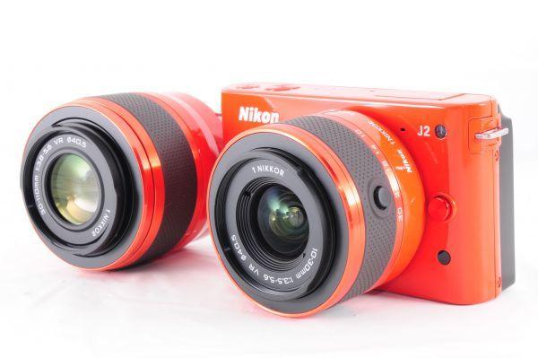 新同品■ニコン【 Nikon 1 J2 】可愛いオレンジ■ダブルズームキット■最高コンディション■付属品完備 カメラ・レンズ 保証書付 #162_画像3