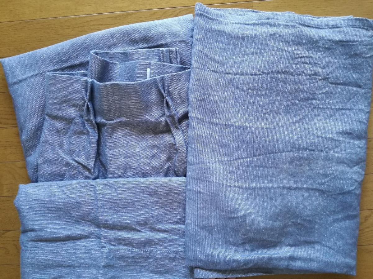 無印良品 麻綿ななこ織 カーテン ネイビー 100x200cm 2枚セット カーテンフック タ