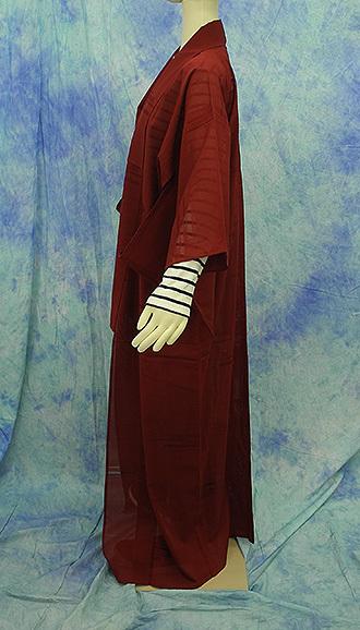 (117)絽 夏の着物 夏用 夏 正絹 SILK  中古 pre-owned 色無地 Japanese Kimono for Summer 151cm 59inch_画像7