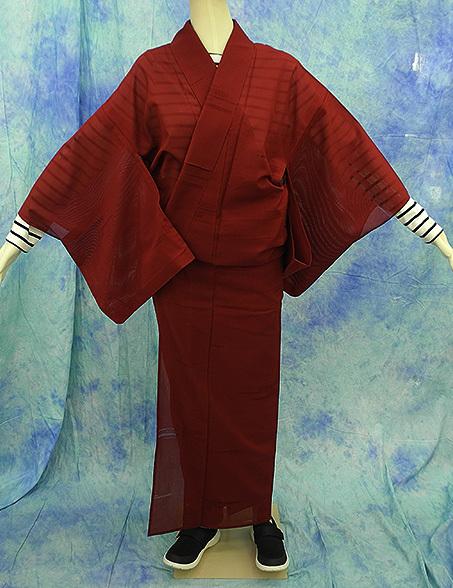 (117)絽 夏の着物 夏用 夏 正絹 SILK  中古 pre-owned 色無地 Japanese Kimono for Summer 151cm 59inch_画像1