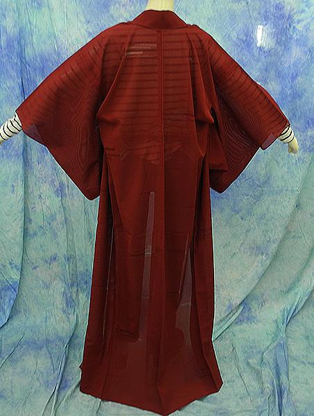 (117)絽 夏の着物 夏用 夏 正絹 SILK  中古 pre-owned 色無地 Japanese Kimono for Summer 151cm 59inch_画像8