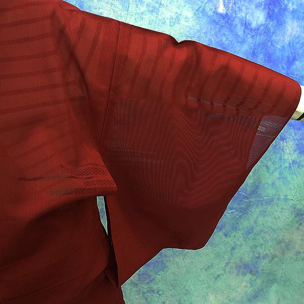 (117)絽 夏の着物 夏用 夏 正絹 SILK  中古 pre-owned 色無地 Japanese Kimono for Summer 151cm 59inch_画像3