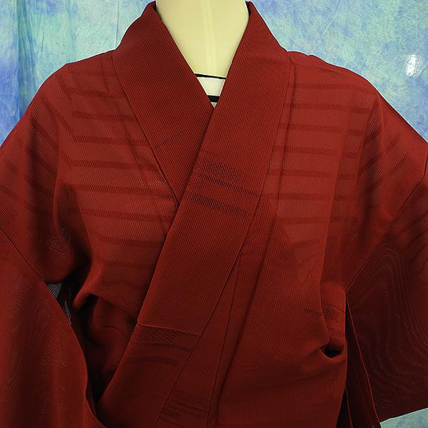 (117)絽 夏の着物 夏用 夏 正絹 SILK  中古 pre-owned 色無地 Japanese Kimono for Summer 151cm 59inch_画像2
