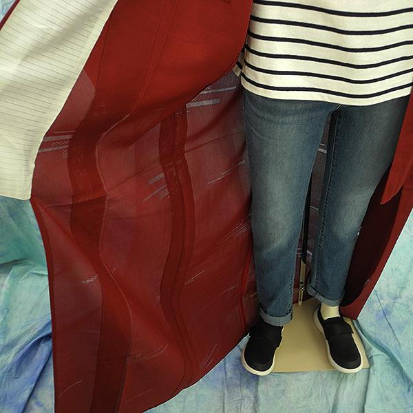 (117)絽 夏の着物 夏用 夏 正絹 SILK  中古 pre-owned 色無地 Japanese Kimono for Summer 151cm 59inch_画像6