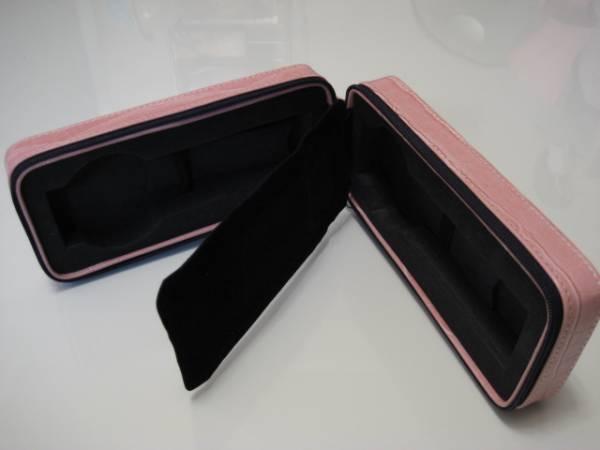 希少格安スタート●エスプリマ 型押し ピンク系 携帯用時計ケース 2本用 未使用_画像2