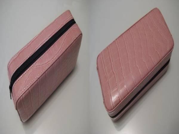 希少格安スタート●エスプリマ 型押し ピンク系 携帯用時計ケース 2本用 未使用_画像3