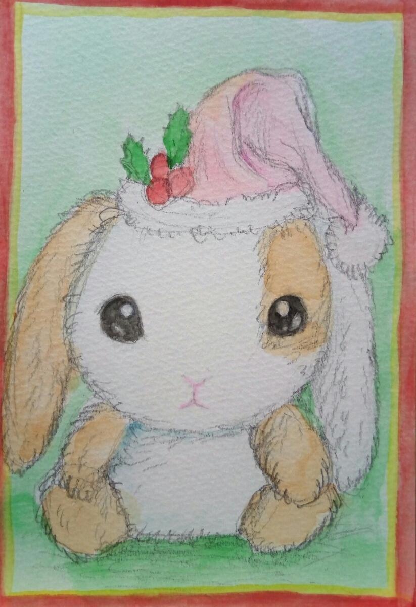 手描き イラスト 原画 ポストカードサイズ 水彩画 2枚セット シルバニアの赤ちゃん うさぎのぬいぐるみ クリスマス 【あおきしずか】_画像3