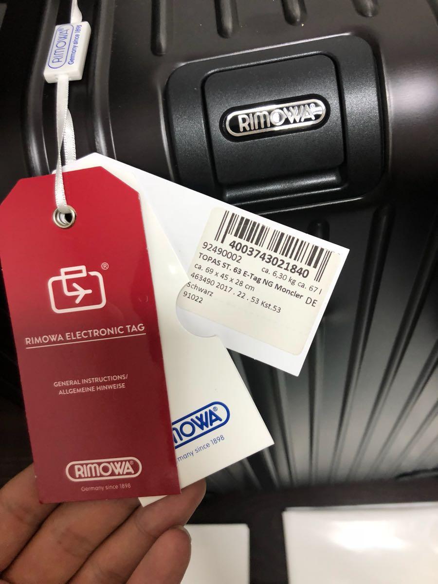 新品 確実本物 確実正規品 1円~ モンクレール リモワ キャリーケース スーツケース MONCLER 電子タグ E-Tag アルミニウム 67L 大 _画像3