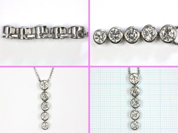 ●新品同様 プラチナ 5連ダイヤ ペンダントネックレス NAC2_画像2