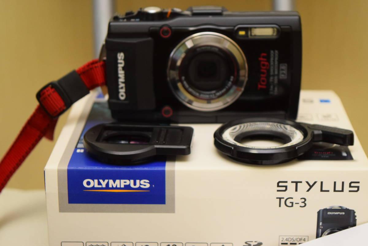 OLYMPUS STYLUS TG-3 Tough F2.0 Wi-Fi GPS オマケで LEDライトガイド LG-1と社外レンズガード付き 付属品完備 オリンパス デジタルカメラ