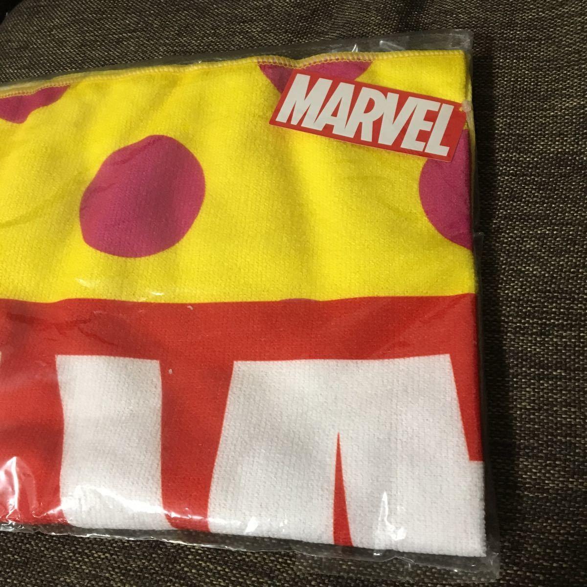 非売品 MARVEL マーベル 黄色水玉 バスタオル_画像2