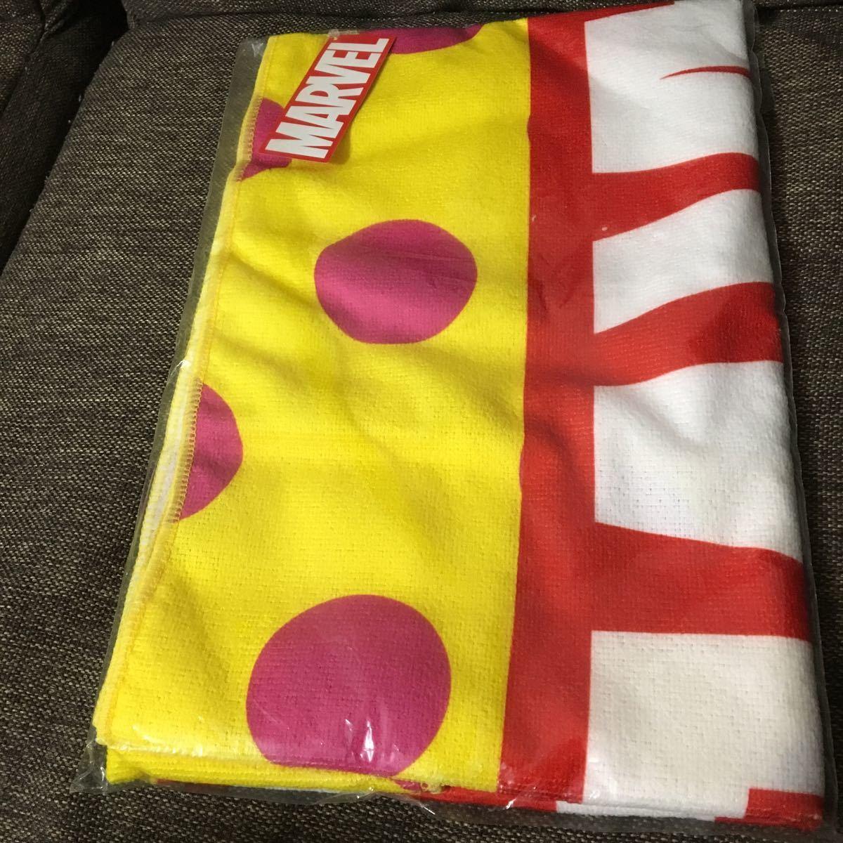 非売品 MARVEL マーベル 黄色水玉 バスタオル_画像1
