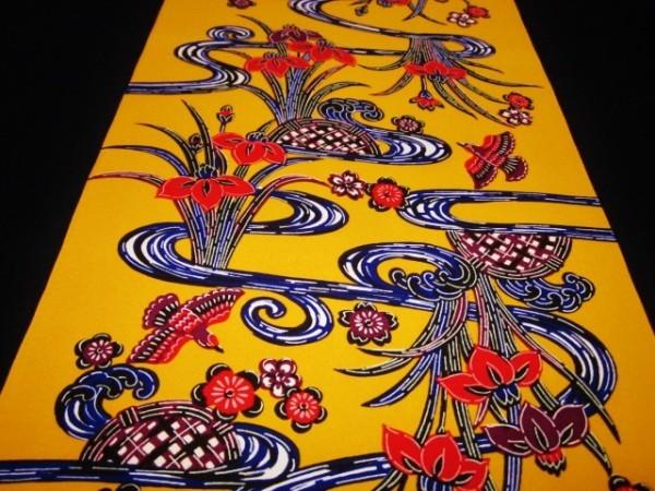 【京わぎれ】ポリエステル 琉球衣装 紅型着尺 流水に杜若 山吹色(赤みの黄色) 12.5m少難品①