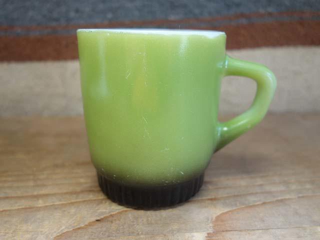 ファイヤーキング リブボトム マグカップ 緑x黒 274 美品 耐熱 ミルクガラス ビンテージ_画像1
