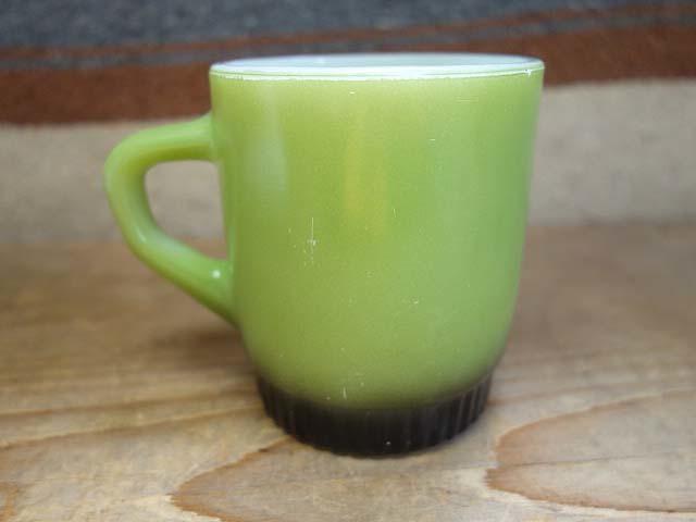 ファイヤーキング リブボトム マグカップ 緑x黒 274 美品 耐熱 ミルクガラス ビンテージ_画像2