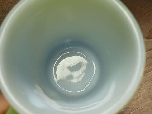 ファイヤーキング リブボトム マグカップ 緑x黒 274 美品 耐熱 ミルクガラス ビンテージ_画像3