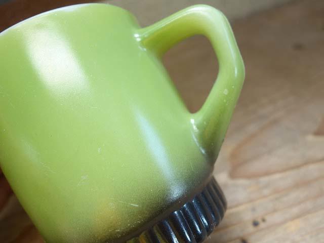 ファイヤーキング リブボトム マグカップ 緑x黒 274 美品 耐熱 ミルクガラス ビンテージ_画像4