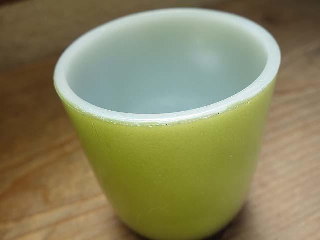 ファイヤーキング リブボトム マグカップ 緑x黒 274 美品 耐熱 ミルクガラス ビンテージ_画像5