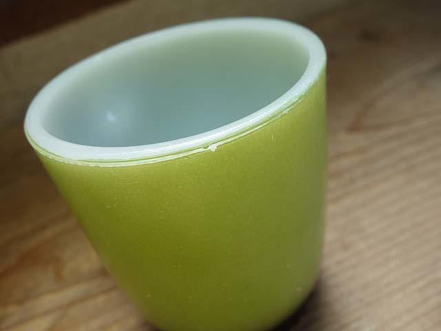 ファイヤーキング リブボトム マグカップ 緑x黒 274 美品 耐熱 ミルクガラス ビンテージ_画像6