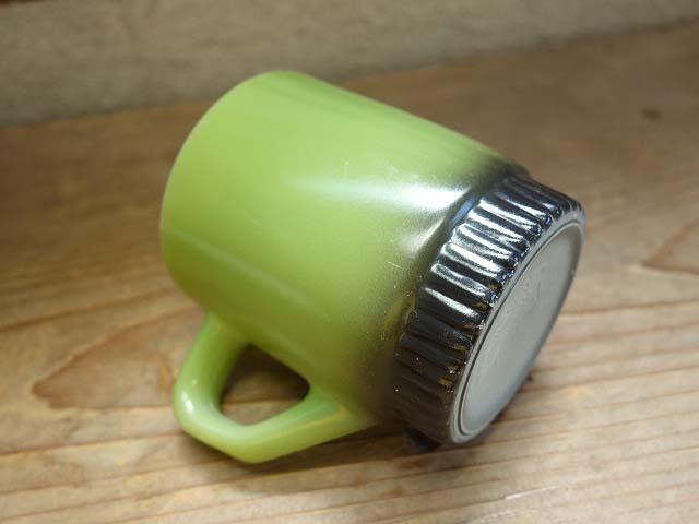 ファイヤーキング リブボトム マグカップ 緑x黒 274 美品 耐熱 ミルクガラス ビンテージ_画像7