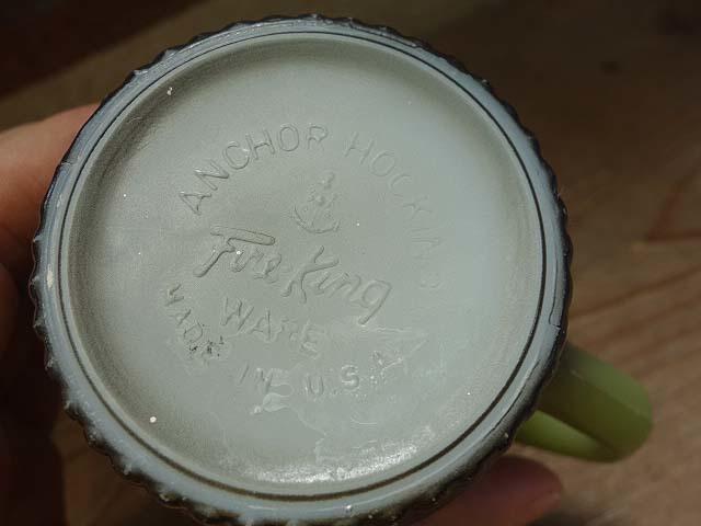 ファイヤーキング リブボトム マグカップ 緑x黒 274 美品 耐熱 ミルクガラス ビンテージ_画像8