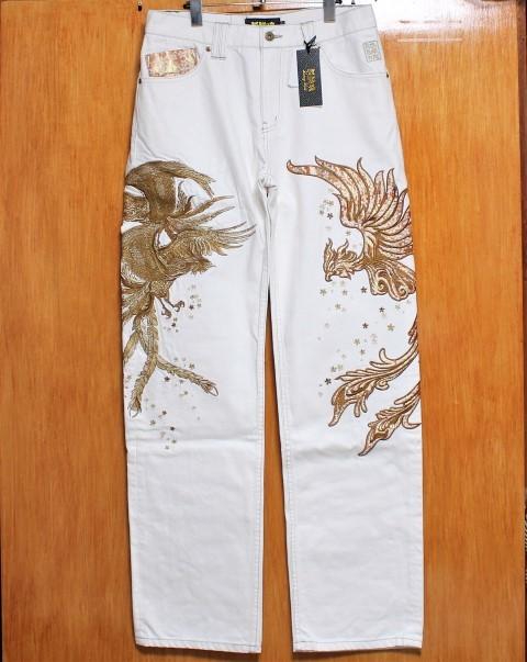 SALE!絡繰魂 粋 ♪(W32)金襴鳳凰桜刺繍ホワイトジーンズ_画像1