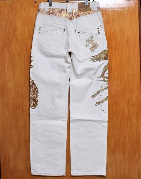 SALE!絡繰魂 粋 ♪(W32)金襴鳳凰桜刺繍ホワイトジーンズ_画像2