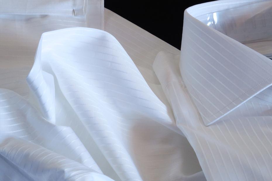 ★イタリアシャツDANROMA ワイドカラー 上品にさりげなく ダブルカフス シャドウストライプ PRINCE BCA 3002_299 M 40-91_画像9