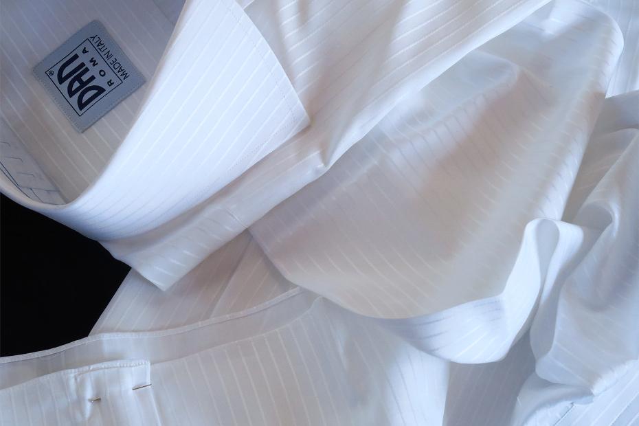 ★イタリアシャツDANROMA ワイドカラー 上品にさりげなく ダブルカフス シャドウストライプ PRINCE BCA 3002_299 M 40-91_画像5