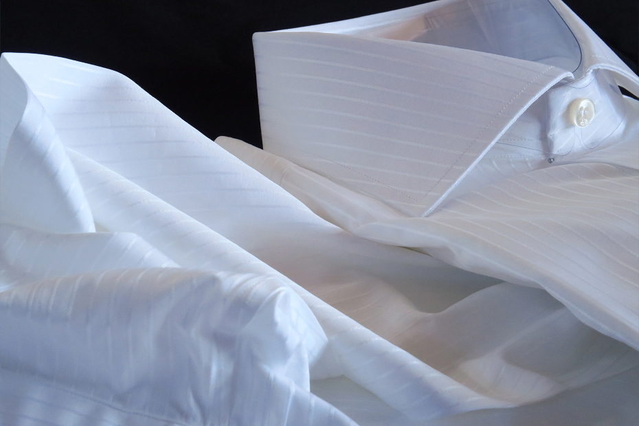 ★イタリアシャツDANROMA ワイドカラー 上品にさりげなく ダブルカフス シャドウストライプ PRINCE BCA 3002_299 M 40-91_画像4