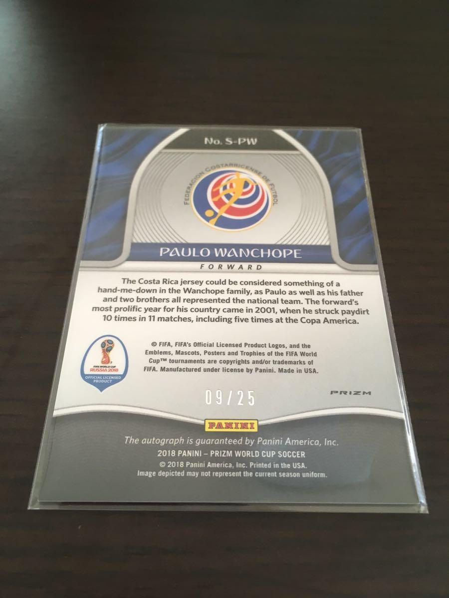 panini prizm 2018 world cup soccer PAULO WANCHOPE ワンチョペ 直筆サイン 9/25 ジャージーナンバー auto コスタリカ SP_画像2