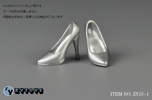 ZY-TOYS 1/6フィギュア用 ハイヒール 銀色 ZY15-1F_画像1