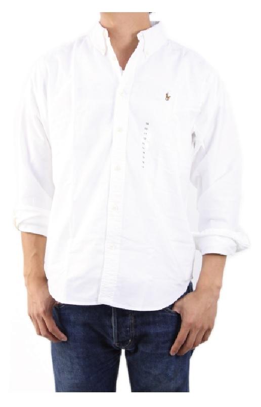 新品 アウトレット 12842 boy's 12 白 polo ralph lauren ポロ ラルフ ローレン ボタンダウン 長袖 シャツ オックスフォード_画像1