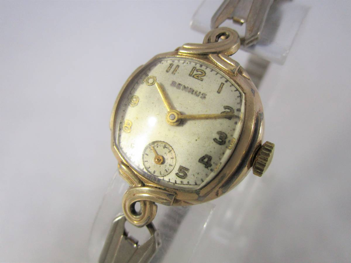 BENRUS ベンラス アンティーク ビンテージ 手巻き 腕時計 15石搭載 ゴールド金色 スモールセコンド ベルト付 1940年代アメリカ ブランドUSA_画像1