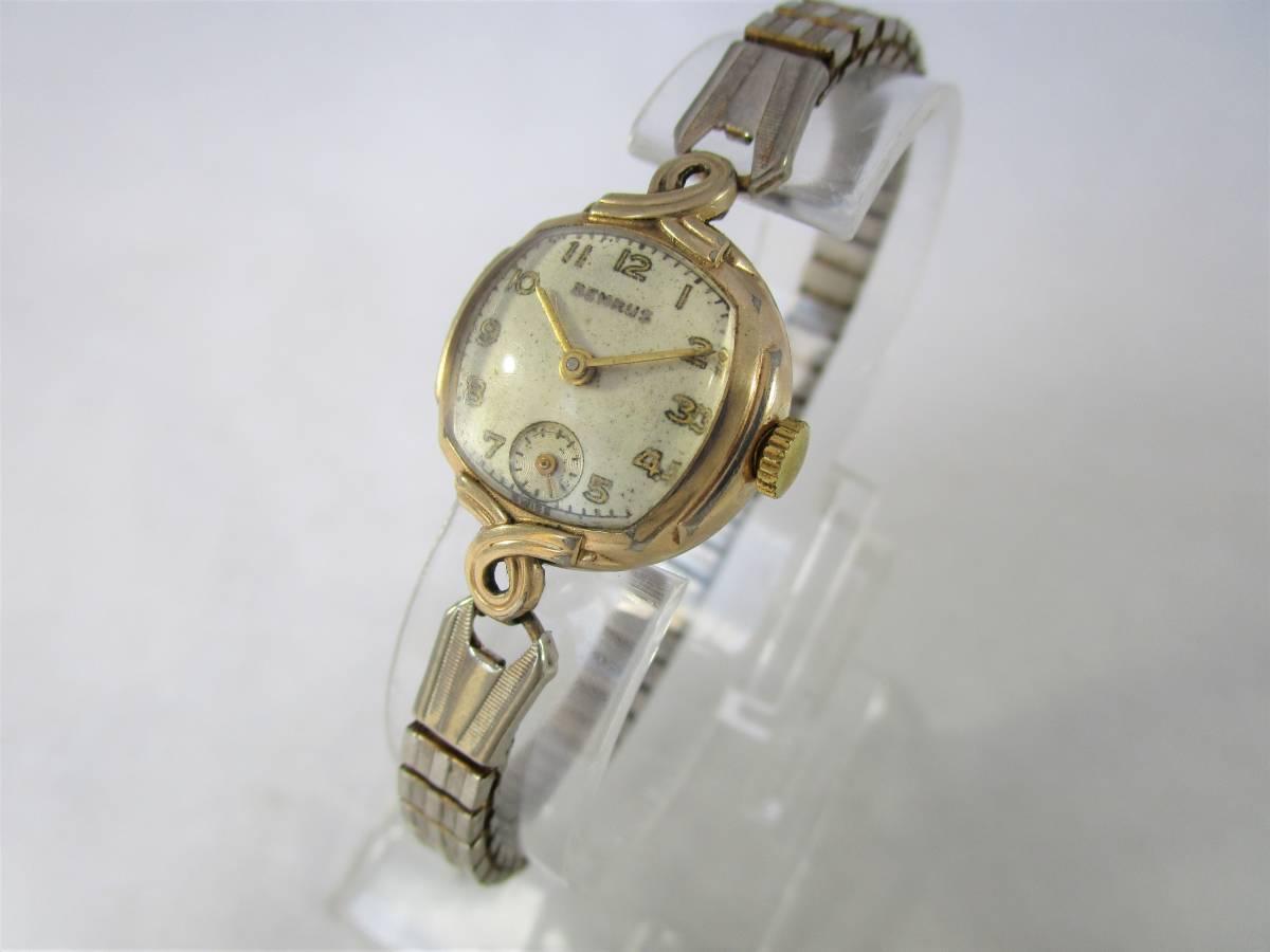 BENRUS ベンラス アンティーク ビンテージ 手巻き 腕時計 15石搭載 ゴールド金色 スモールセコンド ベルト付 1940年代アメリカ ブランドUSA_画像2