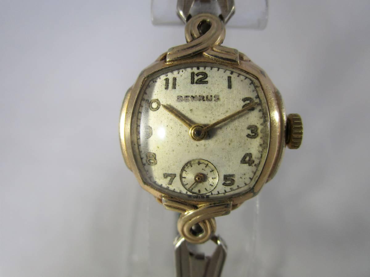 BENRUS ベンラス アンティーク ビンテージ 手巻き 腕時計 15石搭載 ゴールド金色 スモールセコンド ベルト付 1940年代アメリカ ブランドUSA_画像5