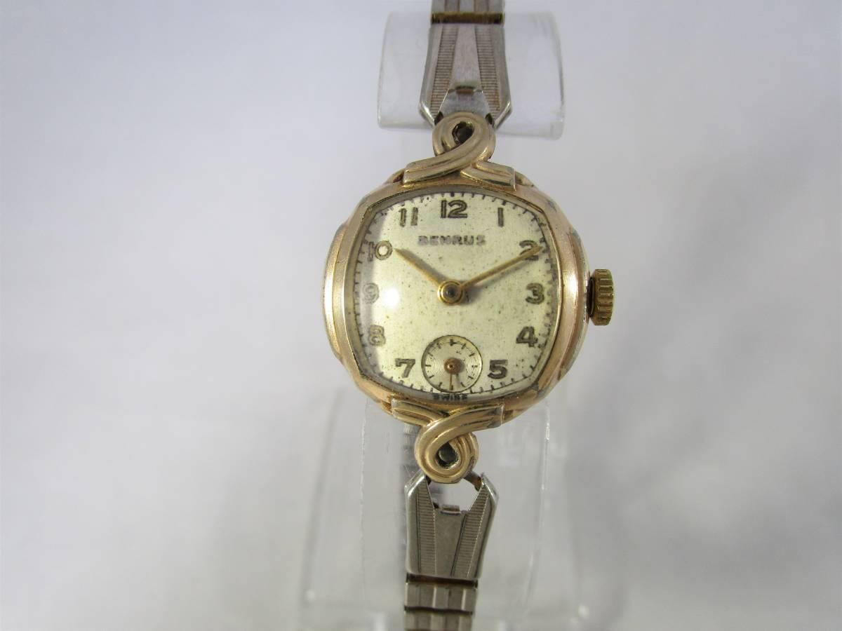 BENRUS ベンラス アンティーク ビンテージ 手巻き 腕時計 15石搭載 ゴールド金色 スモールセコンド ベルト付 1940年代アメリカ ブランドUSA_画像4