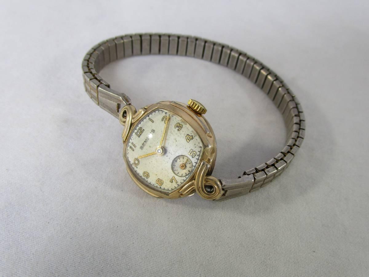 BENRUS ベンラス アンティーク ビンテージ 手巻き 腕時計 15石搭載 ゴールド金色 スモールセコンド ベルト付 1940年代アメリカ ブランドUSA_画像10