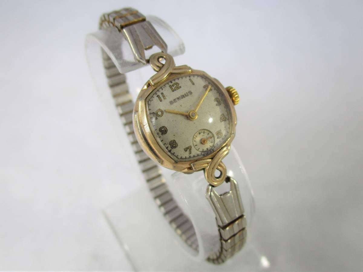 BENRUS ベンラス アンティーク ビンテージ 手巻き 腕時計 15石搭載 ゴールド金色 スモールセコンド ベルト付 1940年代アメリカ ブランドUSA_画像3