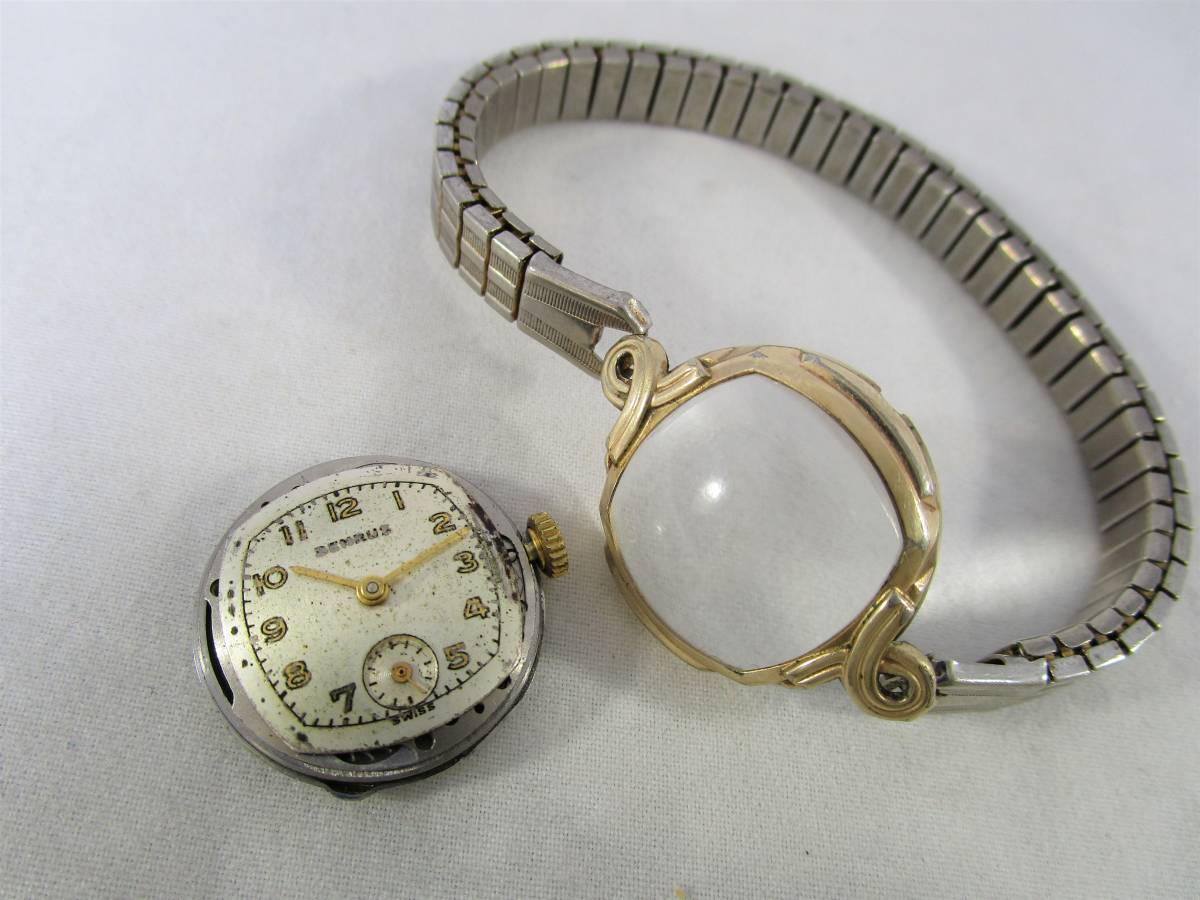 BENRUS ベンラス アンティーク ビンテージ 手巻き 腕時計 15石搭載 ゴールド金色 スモールセコンド ベルト付 1940年代アメリカ ブランドUSA_画像7