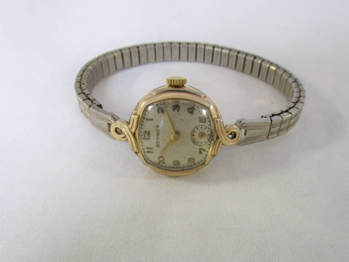 BENRUS ベンラス アンティーク ビンテージ 手巻き 腕時計 15石搭載 ゴールド金色 スモールセコンド ベルト付 1940年代アメリカ ブランドUSA_画像6