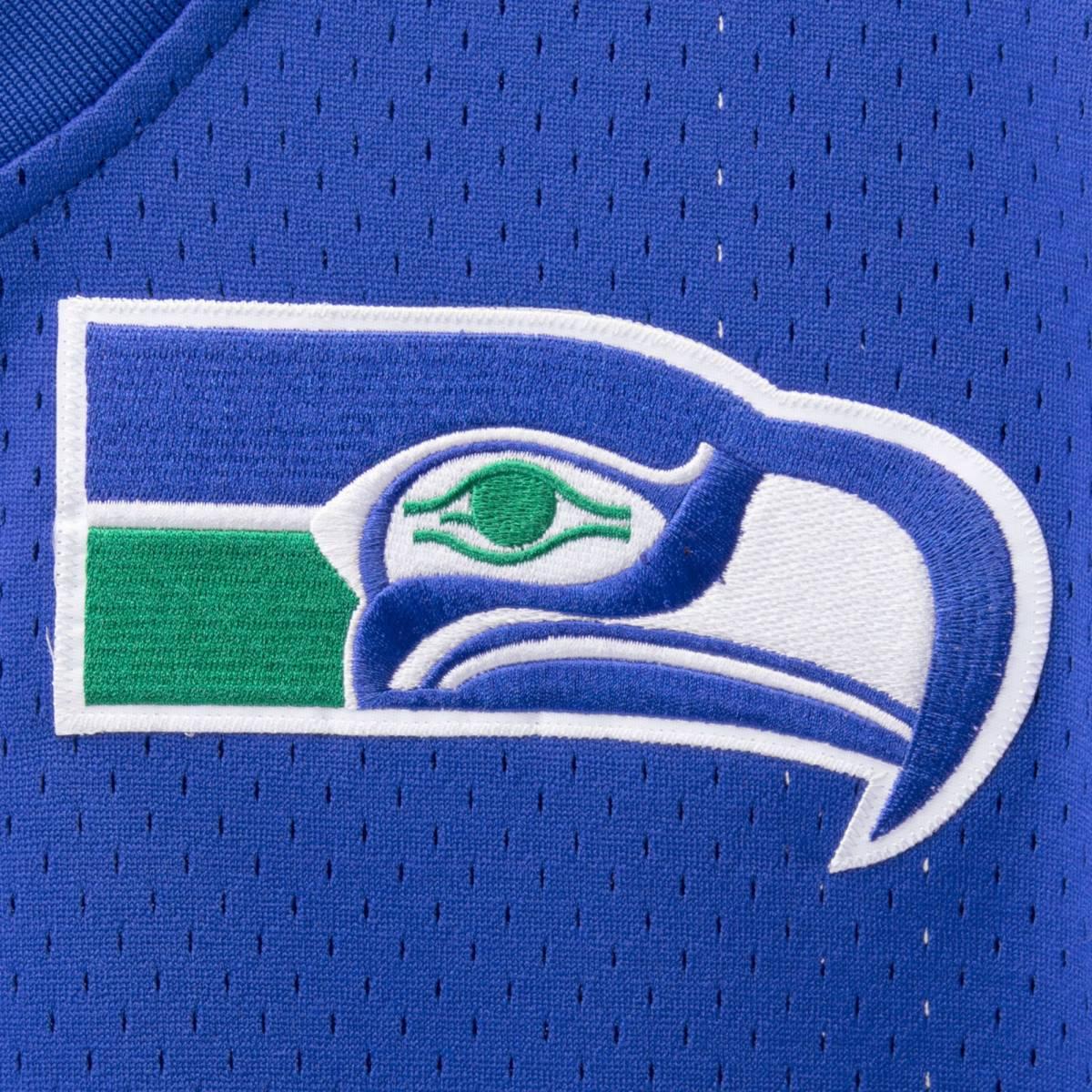 USA限定!! 【3XL】MITCHELL&NESS ミッチェル&ネス 正規品 NFL シアトル シーホークス Seahawks 青 Vネック メッシュ ユニフォーム アメフト_画像4