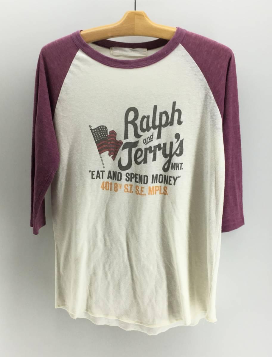 Inpaichthys Kerri Tシャツ ラグラン メンズ M プリント アイボリー × パープル 七分袖 トップス インパクティスケリー 18071002